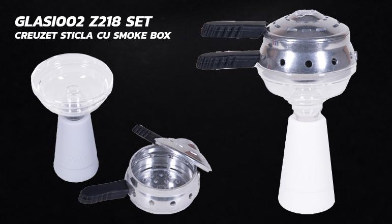 Glasi002 Z218 Set creuzet sticla cu smoke box